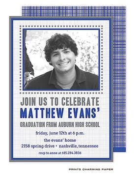 Blue Crosshatch with Brown BorderPhoto Graduation Announcement Cardn