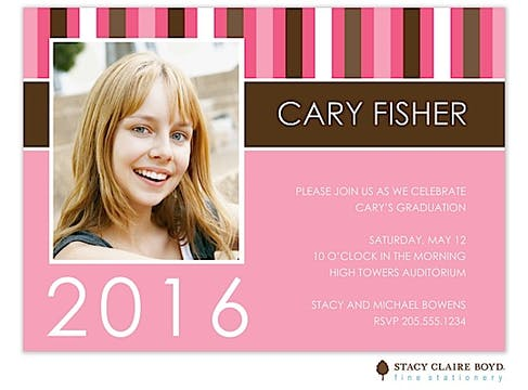 Striped Graduate-Pink Invitation