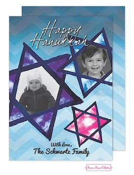 Blue Hanukkah Stained Glass Stars Flat Photo Card