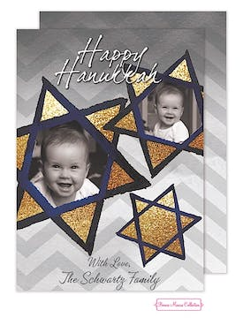Gold Hanukkah Stars Flat Photo Card