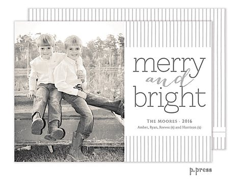 Silver Pinstripe Holiday Flat Photo Card