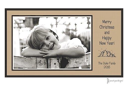 Linen Latte & Black Holiday Print & Apply Flat Photo Card