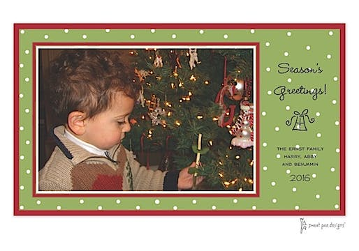 Little Dots Green & Red Christmas Print & Apply Flat Photo Card