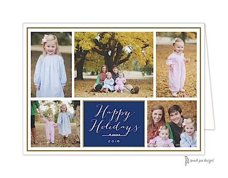 Navy Folded Photo Collage With Gold Border Folded Photo Holiday Card