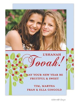 Rosh Hashanah Side Apple Tree on Blue Flat Digital Photo Card