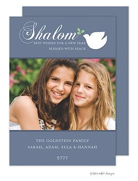 Rosh Hashanah Shalom Dove on Blue Flat Digital Photo Card