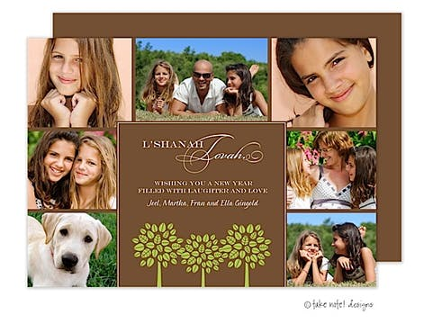 Rosh Hashanah Three Tree Multi-Photo Flat Digital Photo Card
