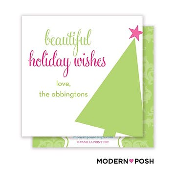 Mod Holiday Tree Square Enclosure Card Calling Card