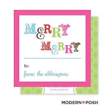 Merry Merry Square Enclosure Card Calling Card