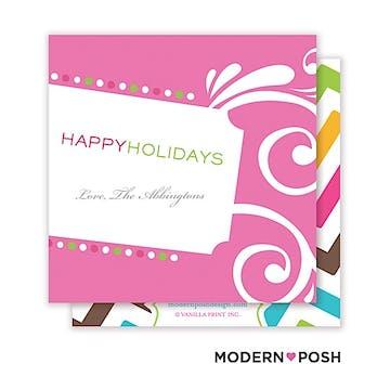 Holiday Lights Square Enclosure Card Calling Card
