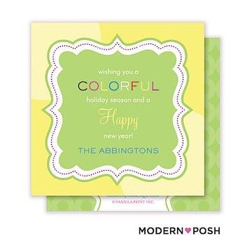 Colorful Holiday Square Enclosure Card Calling Card