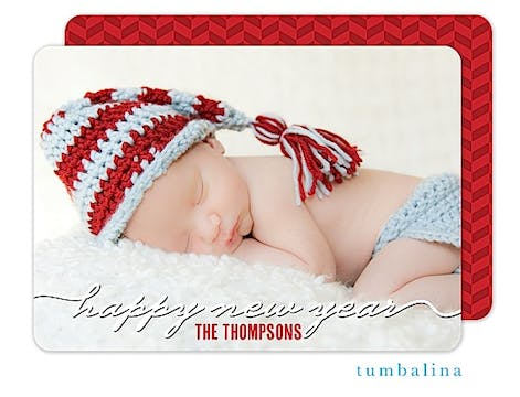 New Year Script Holiday Flat Photo Card