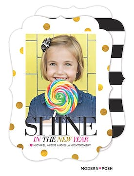 Shine In The New Year Holiday Flat Photo Card
