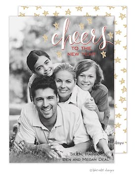 cheers to the new year stars Flat Photo Holiday Card