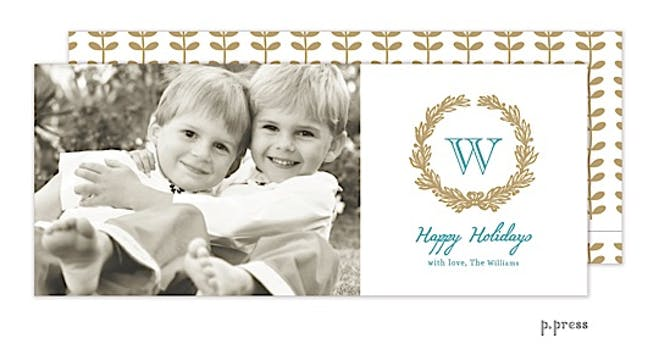 Golden Wreath Holiday Flat Photo Card
