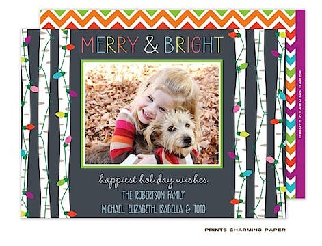 Festive Lights - Grey Flat Photo Card