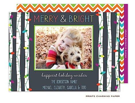 Festive Lights - Grey Flat Photo Card