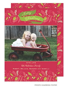 Artistic Greenery on Red Flat Photo Card
