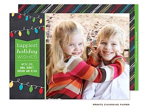 Festive Holiday Lights Flat Photo Card