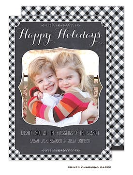 Festive Gingham Holiday Flat Photo Card