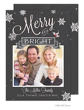 Merry and Bright Chalkboard Banner Holiday Flat Photo Card