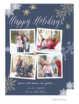 Sparkle Snowflakes Navy Flat Photo Holiday Card
