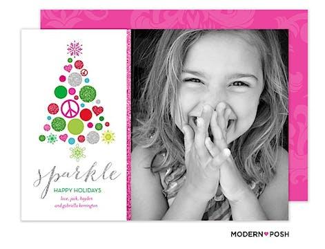 Sparkle Tree Holiday  Flat Photo Card