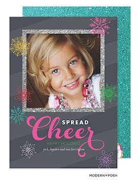 Colorful Holiday Snowflakes Flat Photo Card
