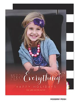 Merry Everything Ombre Holiday  Flat Photo Card