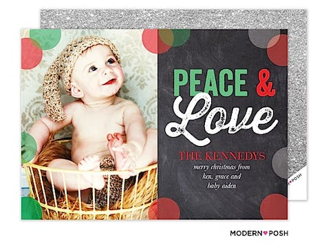 Peace & Love In Chalk Holiday Flat Photo Card