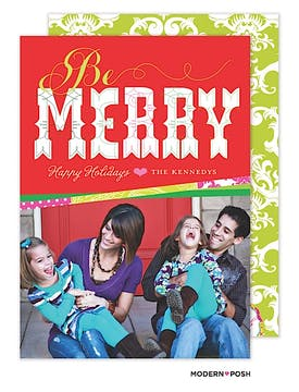 Be Bright And Merry Holiday  Flat Photo Card