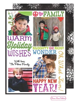 Warm Holiday Wishes (Colorful) Flat Photo Card