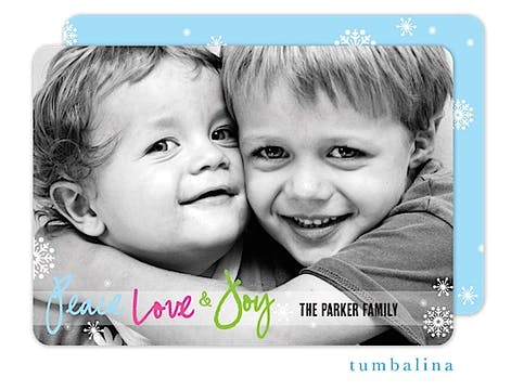 Peace Script Banner Holiday Flat Photo Card