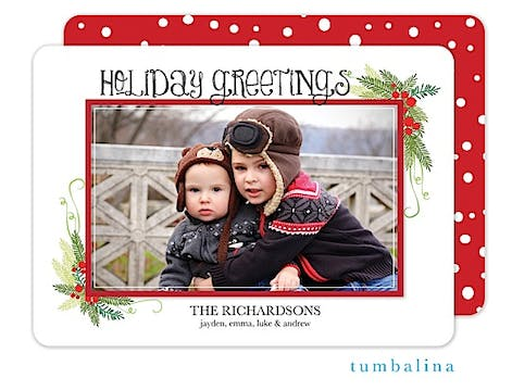 Holly Berries Frame Holiday Flat Photo Card