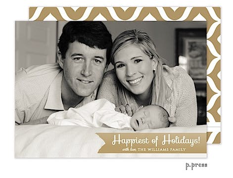 Happy Golden Holiday Flat Photo Card