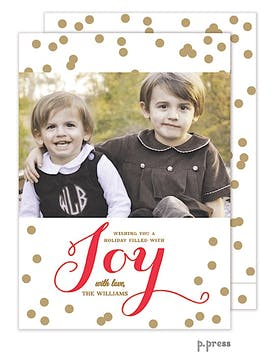 Confetti Vertical Holiday Flat Photo Card