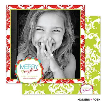 Damask Frame Holiday Square Flat Photo Card