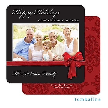 Elegant Velvet Bow Black Square Holiday Flat Photo Card