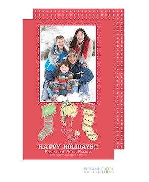 Three Stockings Flat Photo Card
