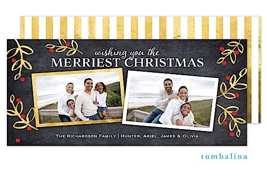 Gold Botanicals Holiday Flat Photo Card