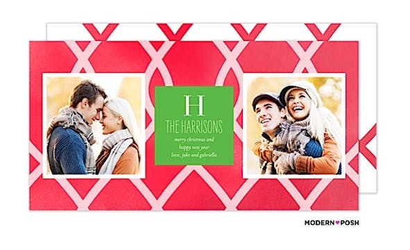 Watercolor Lattace Holiday  Flat Photo Card