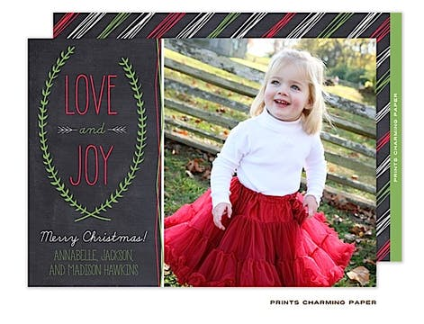 Love and Joy Christmas Flat Photo Card