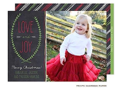 Love and Joy Christmas Flat Photo Card