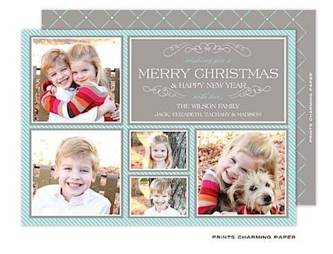 Blue & Grey Diagonals Flat Photo Frames Flat Photo Card