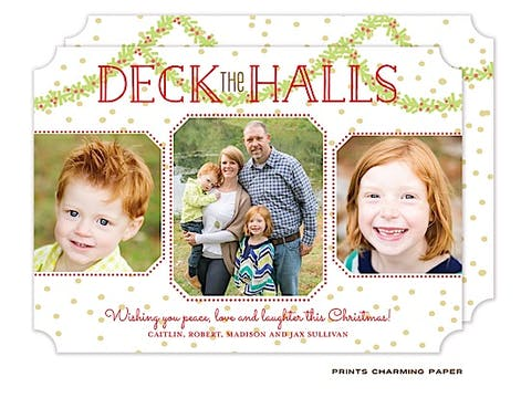 Deck the Halls Holiday Flat Photo Card