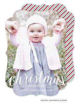 Christmas Wishes Holiday Flat Photo Card