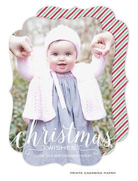 Christmas Wishes Holiday Flat Photo Card