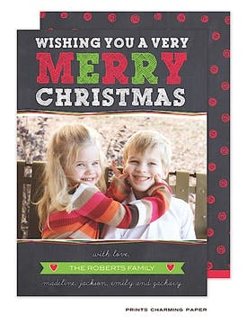 Holiday Doodle Dots Green & Red Flat Photo Card