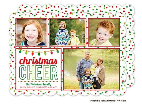 Christmas Cheer Collage Holiday Flat Photo Card