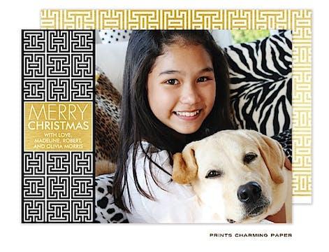 Black and Gold Lattice Flat Photo Card